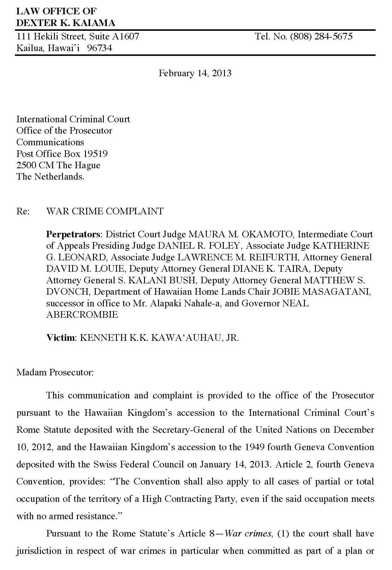 First War Crime Complaint Filed With International Criminal Court