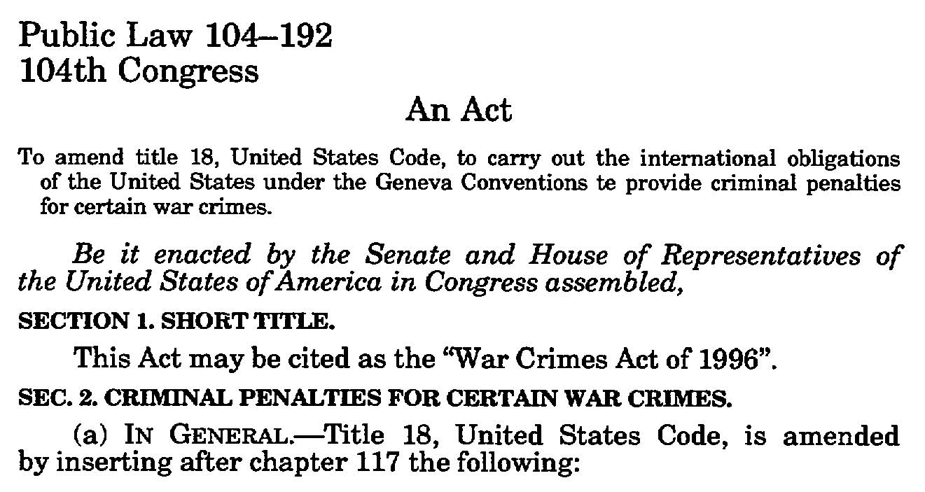 War Crimes Act 1
