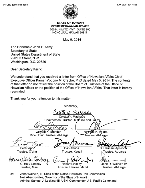 OHA Letter May 9, 2014