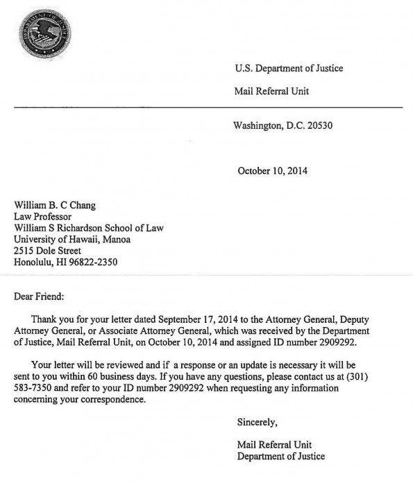 DOJ Reply Ltr to Prof Chang