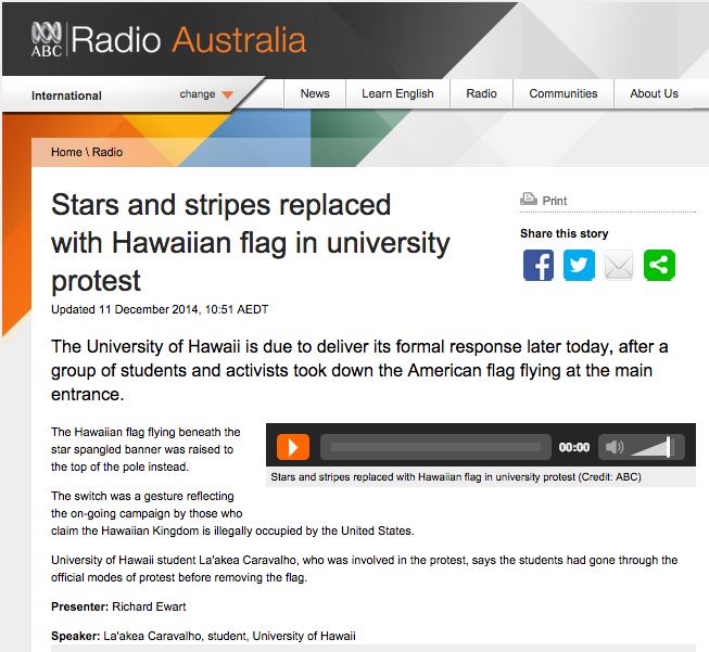 ABC Australia Radio U.S. Flag Lowered