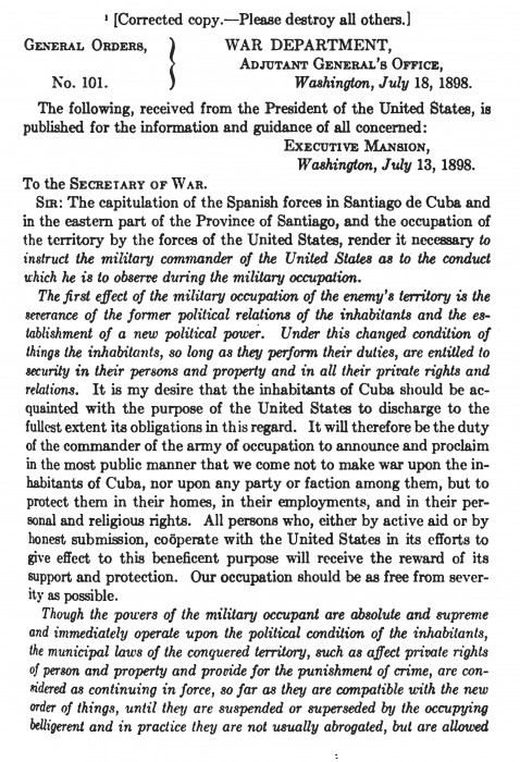 McKinley's Gen. Order for Occupation_Page_1