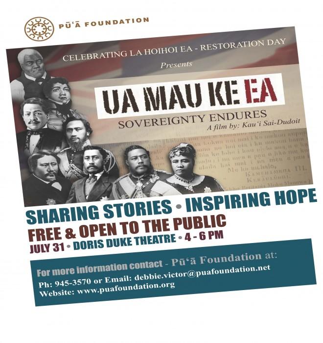 Ua Mau Ke Ea Movie Flyer (July 31, 2015)